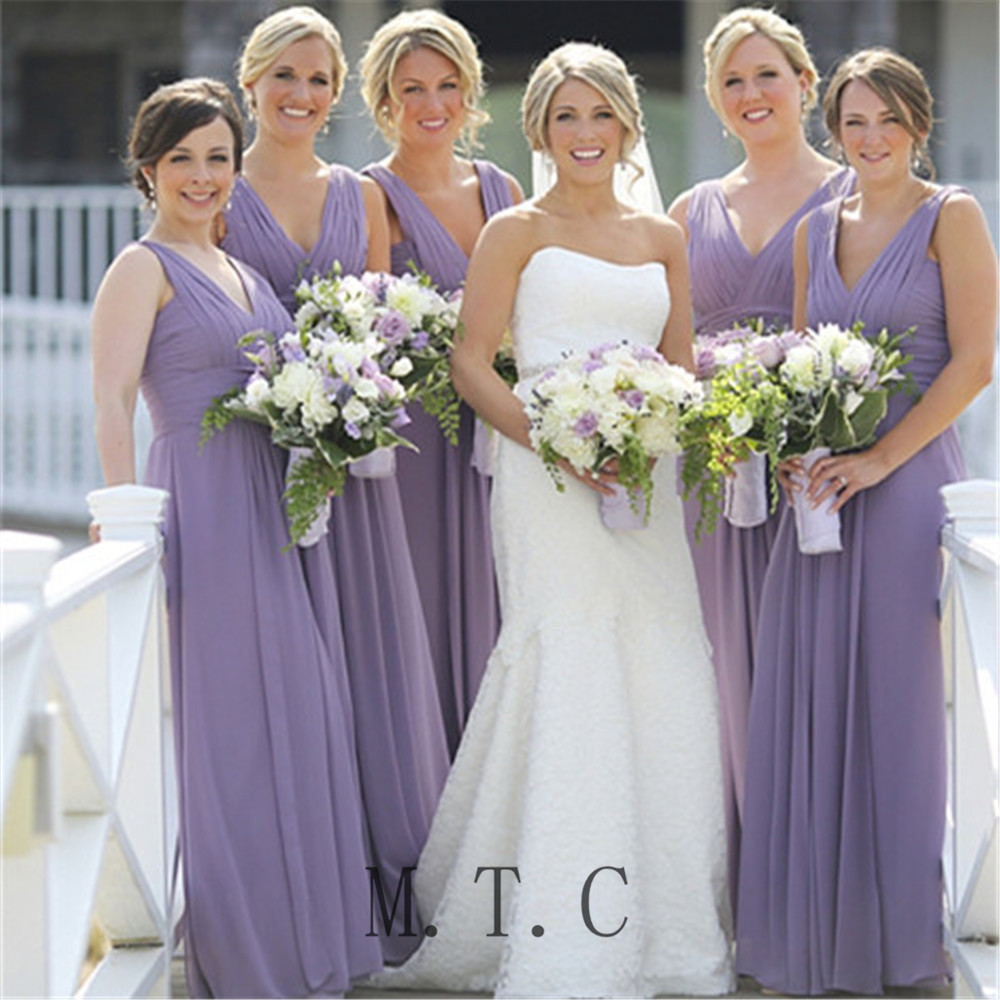 Light Purple   Bridesmaid     Dresses   Pleat Chiffon V Neck A Line Floor Length Long Women Party   Dress   2019 Cheap Maid Of Honor Gowns