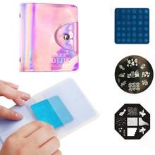 32 Slots Square Nail Art Stamp Plates Holder Laser Pink Mirror Purple Plate Organizer Stamping Template Case Storage