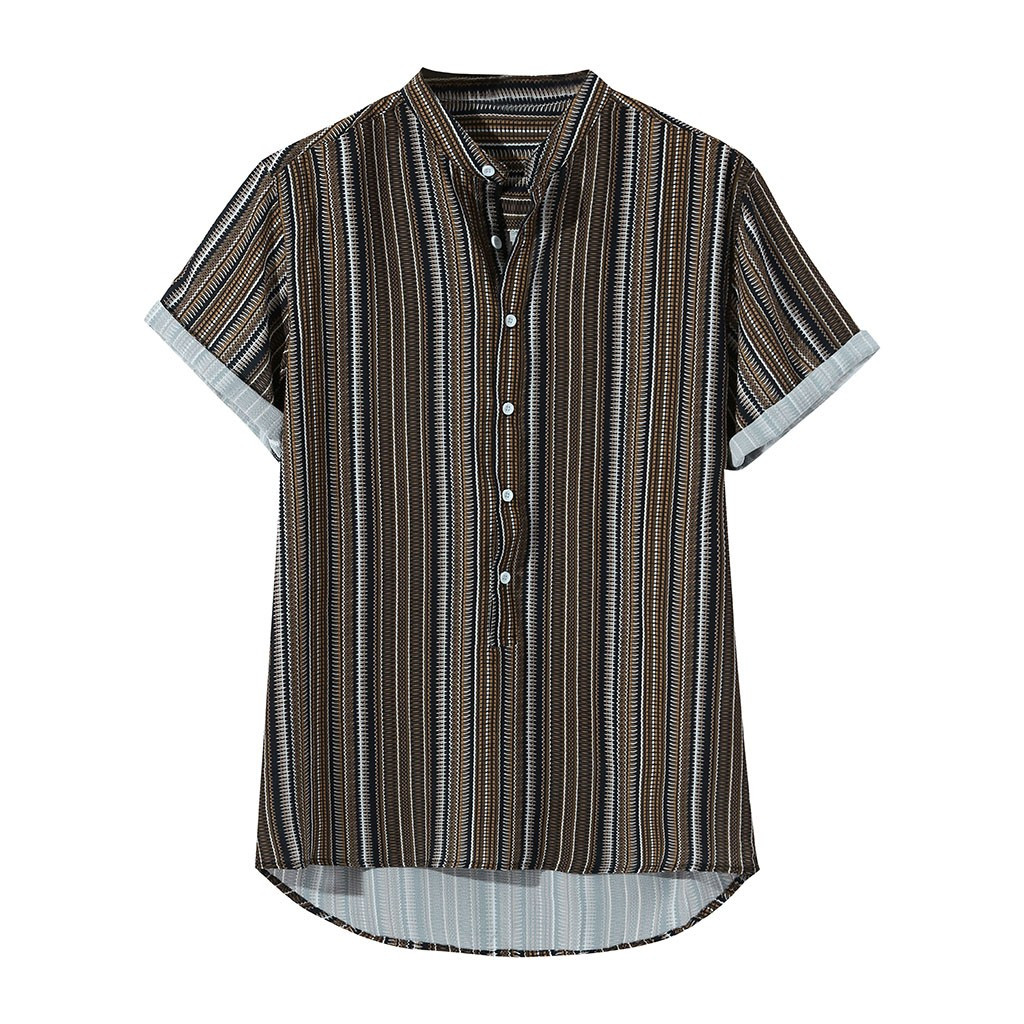 Womail 2019 New Arrivals Fashion Unique Style Mens Summer Striped Buttons Fly Breathable Short Sleeve Casual Henley Shirts