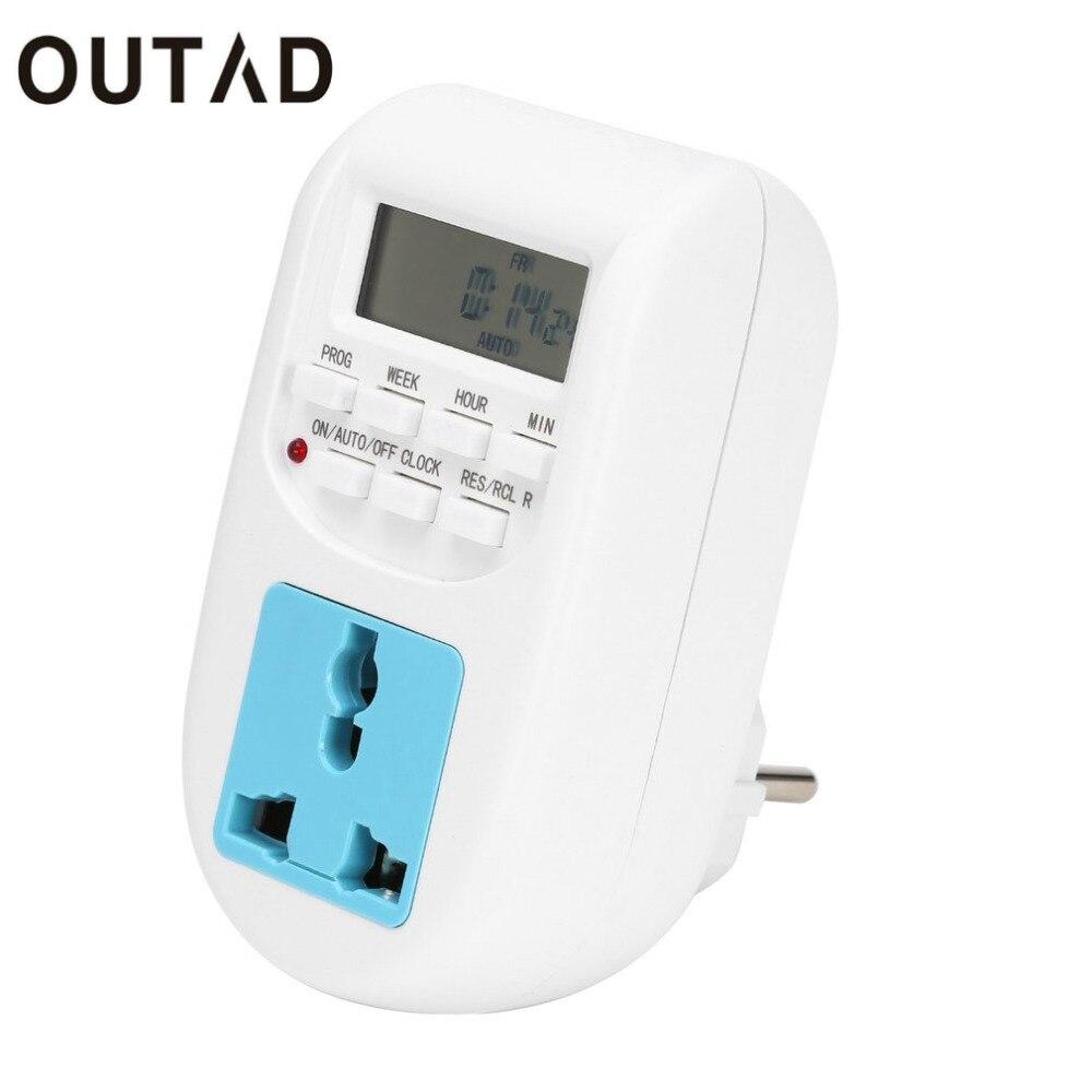 OUTAD Enchufe de LA UE Nuevo Energy Saving Timer Programable Temporizador Electrónico Socket Temporizador Digital de Electrodomésticos Para El Hogar Dispositivos