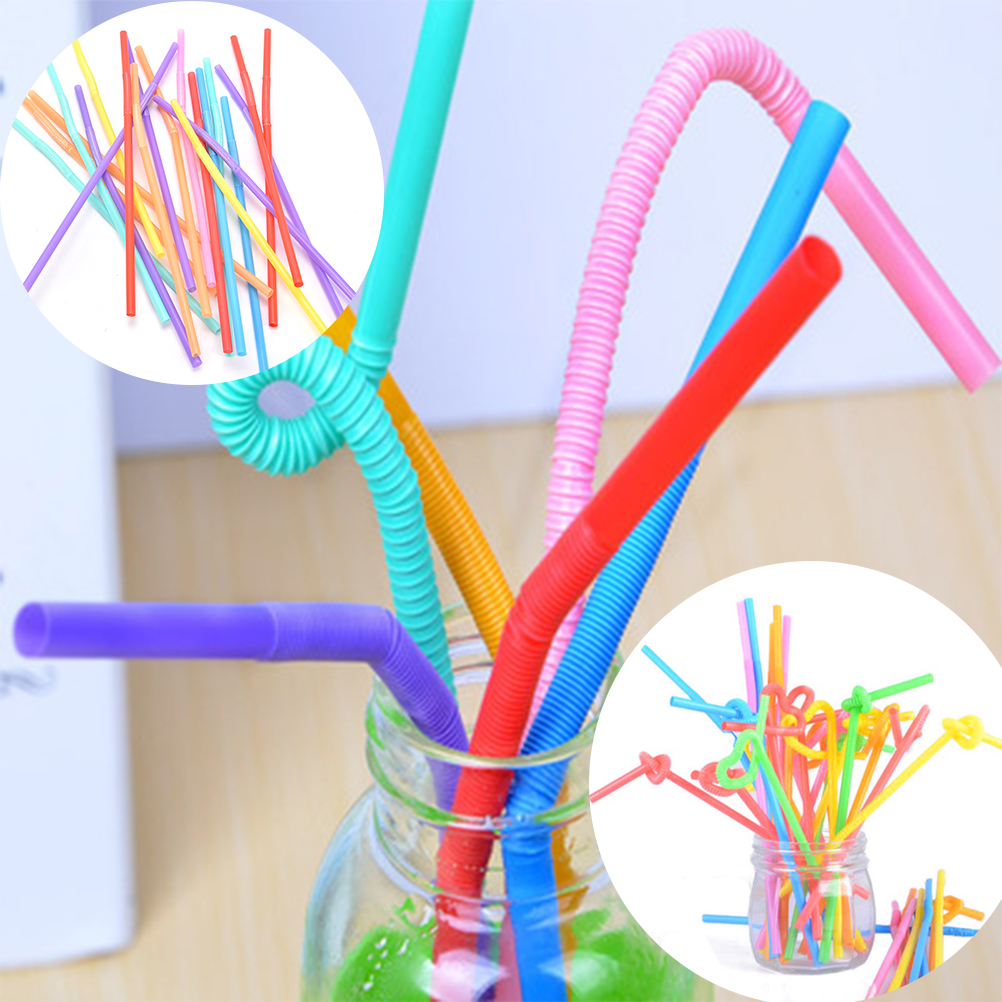 100PCS Plastic Flexible Bendy Disposable Drinking Straws Kids Birthday Wedding Decoration Event Party Supplies Mixed Colours