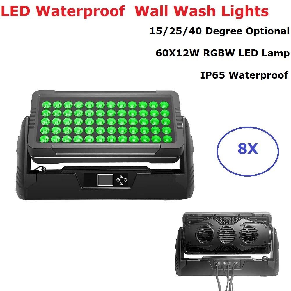 8 Units High Quality 60X12W RGBW 4IN1 Led Bar Wall Wash Light DMX512 Wash Wall Led Outdoor Flood Light DJ Bar Party Show Lights