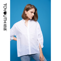Toyouth 2018 Summer Cotton Shirt Women Tops and Blouses Stand Collar Puff Sleeve Female Blouses Loose Elegant Camisa Feminina