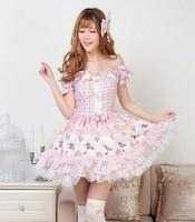 JSK Lolita Cute Lolita Costume Strap Dress Lovely Print Lolita JSK Pink