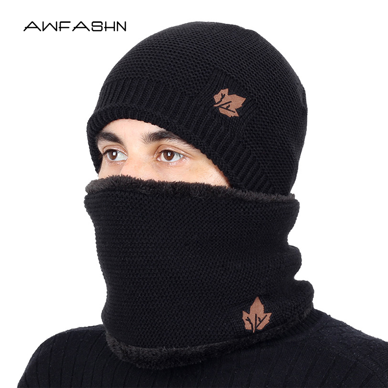 2019 New Two Pieces Winter Hat&Scarf Set For Men Winter Beanies Scarves Male Winter Sets Thick Cotton Warm Winter Accessories