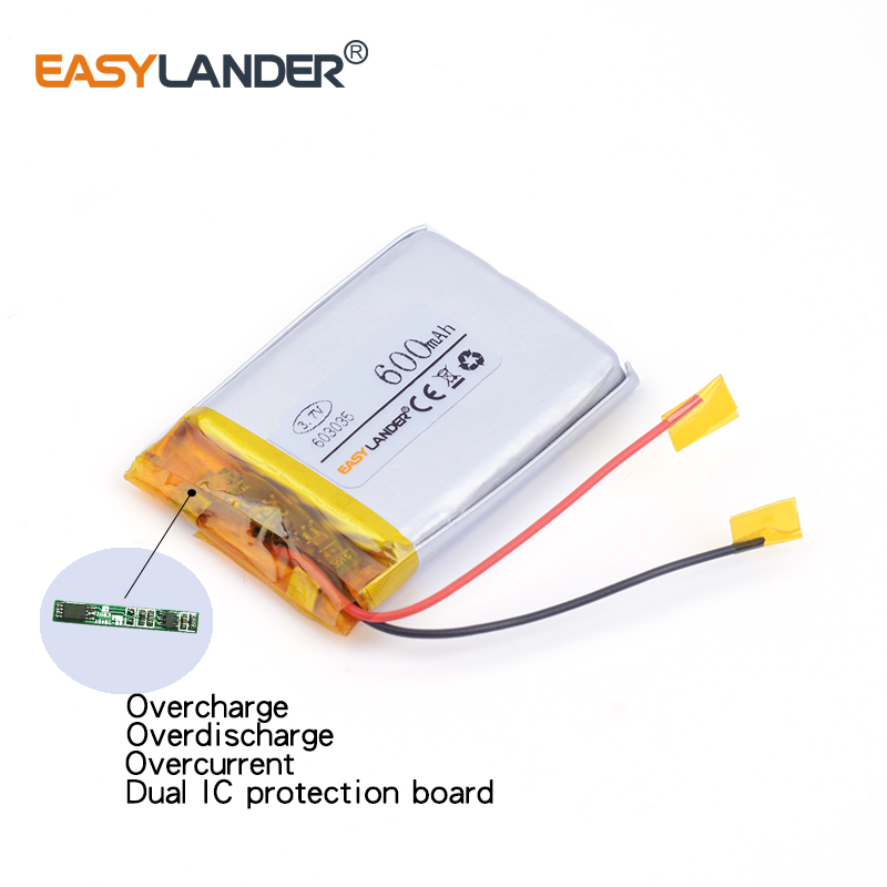 10pcs/Lot 603035 600MAH 3.7v lithium Li ion polymer rechargeable battery For MP3 MP4 GPS recorder battery pack medical device