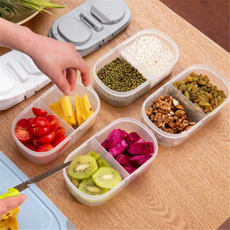 Kitchen Refrigerator Double Compartment Buckle Sealed Can Storage Box Plastic Portable Lunch Box Preservation Box
