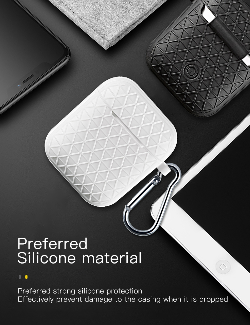 !ACCEZZ Grid Silicone Earphone Case For AirPod Headset Protective Fundas Cover Accessories For Apple AirPods With Key Chain Box (7)