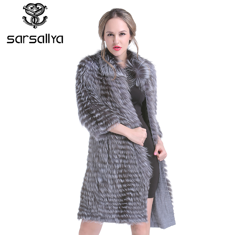 SARSALLYA winter Women Real Silver Fox Fur Coats Fashion Fur Jacket Striped Style Overcoat Women Fox Fur Outerwear Clothes