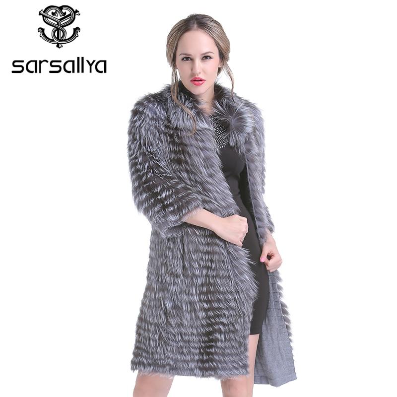 SARSALLYA Nouvelles Femmes d'hiver Réel Silver Fox Fourrure Manteaux De Fourrure De Mode Veste Rayé Style Pardessus Femmes Fourrure De Renard De Survêtement Vêtements
