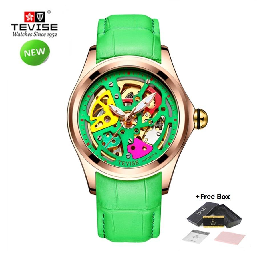 Montres hommes TEVISE Top marque montre automatique de luxe hommes montres mécaniques étanche bracelet en cuir lumineux pour hommes horloge