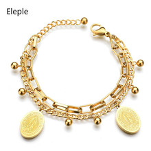 Eleple Stainless Steel Gold Color Virgin Mary Round Bracelets for Women Bridal Birthday Gift Fashion Jewelry Wholesale S-B33