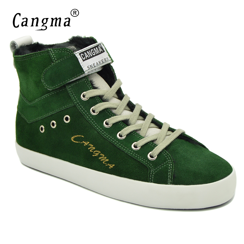 CANGMA Italy Designer Woman's Boots Casual Shoes Genuine Leather Sneakers Women Lace Up Cow Suede Shoes Green Ankle Boots Female cangma original casual shoes women sneakers lace up black cow suede footwear female genuine leather mid leisure shoes for woman