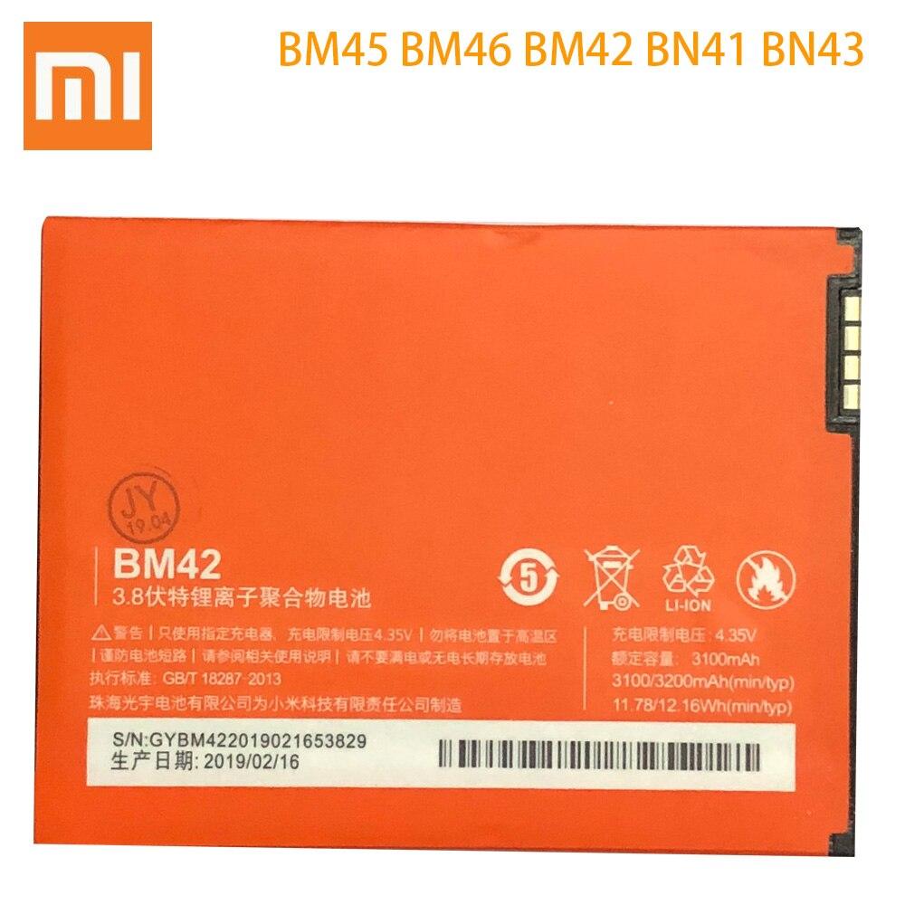 Original BM45 BM46 BM42 BN41 BN43 Battery For Xiaomi Redmi Note 4 4X 3 2 Note2 Note3 Note4 Replacement Mobile Phone Bateria