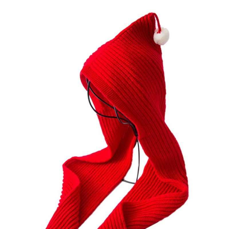 Зимнее теплое хлопковое пончо с капюшоном для женщин и детей, походная шапка, шарфы в 1, дамские накидки, вязаный Одноцветный шарф с капюшоном