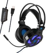 Soyto USB855 USB 7.1 stéréo filaire casque de jeu jeu casque sur l'oreille avec micro Led commande vocale pour ordinateur portable Gamer