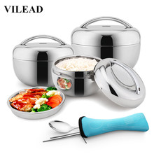 VILEAD Stainless Steel Food Bowl Handle Heat Retaining Lunch Food Box Insulation Container Student Portable Bento Box for Picnic
