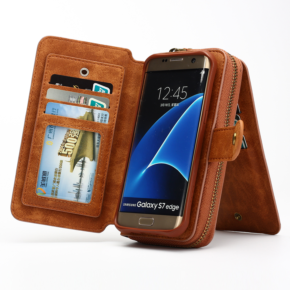 more photos c88de c7f37 BRG Leather Phone Cases for Samsung Galaxy Note 8 S8 plus S6 S7 edge S4 S5  Lady Retro Zipper Handbag Wallet Purse 11 Card Solts-in Underwear from ...