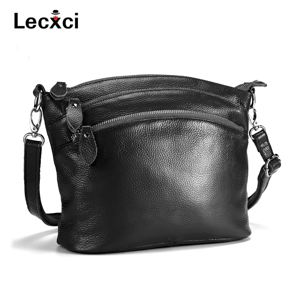 Lecxci 2018 Women Versatile Handbag Soft Offer real Leather bags Zipper messenger bag/ Vintage Shoulder Crossbody Bags