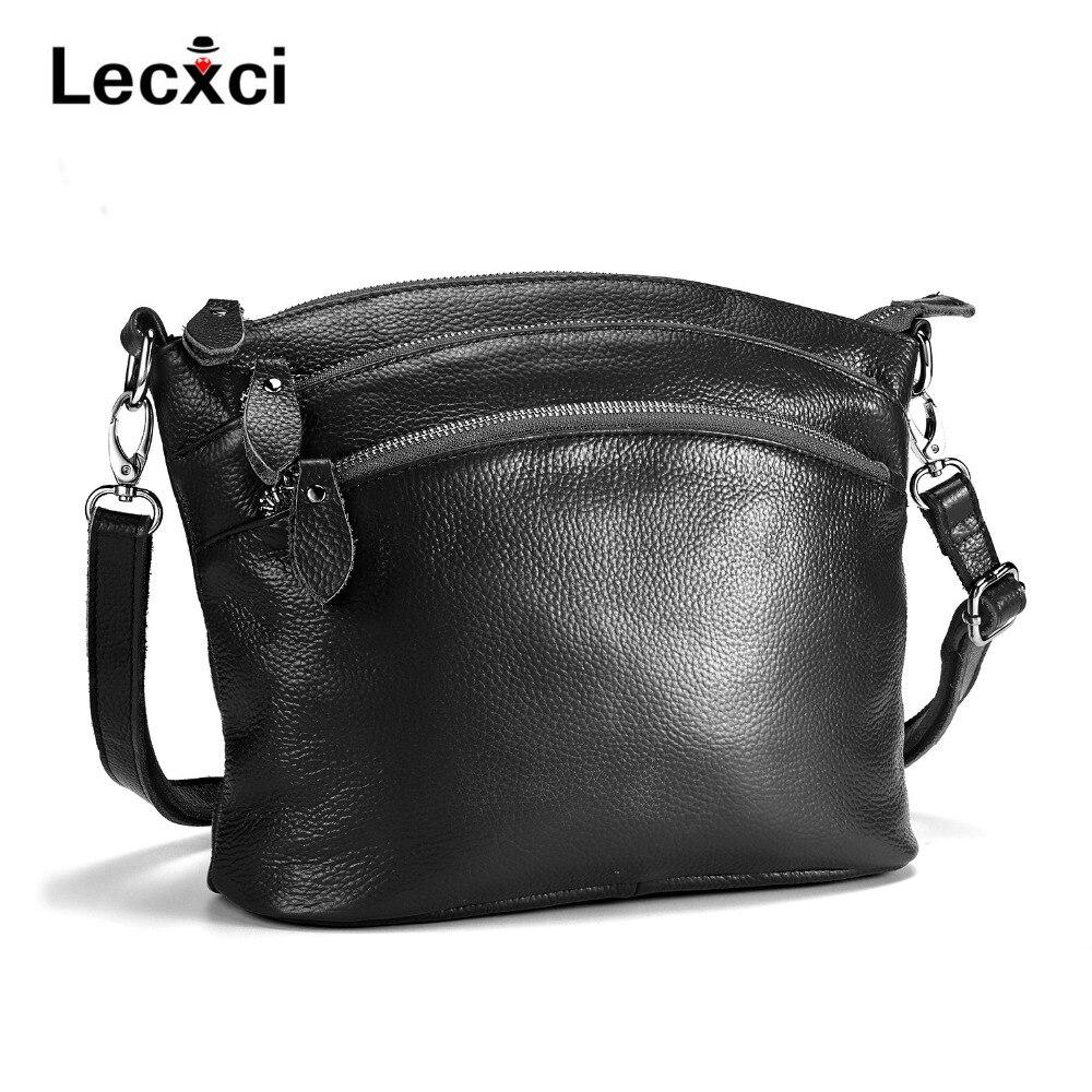 Lecxci 2018 Women Versatile Handbag Soft Offer real Leather bags Zipper messenger bag/ Vintage Shoulder Crossbody Bags
