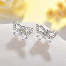 Gold/Silver Color Sparkling Cubic Zirconia CZ Zircon Crystal Butterfly Stud Earrings for Women Girls