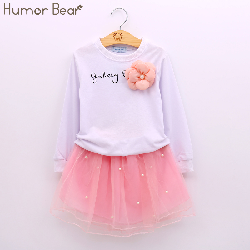 Humor Bear Baby Girl Clothes New Spring And Autumn Long Sleeve T-Shirt + Pink Princess Dress Kids Clothes Girls Clothing new hot sale 2016 korean style boy autumn and spring baby boy short sleeve t shirt children fashion tees t shirt ages
