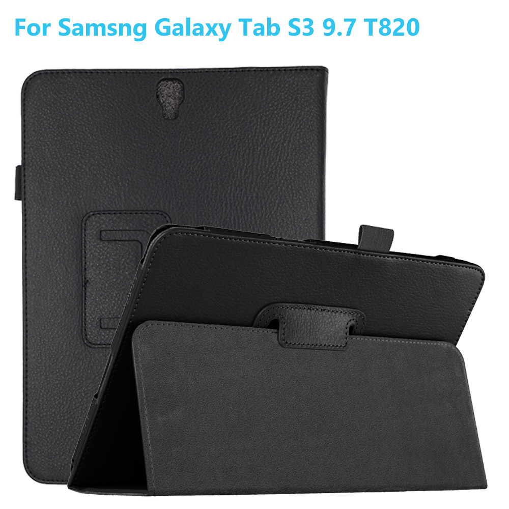 Viviration Hard PU Leather Fold Skin Stander Cover Case For Samsung Galaxy Tab S3 9.7 T820 T825 Smart Magnetic Shell Cover