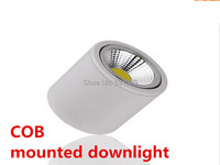 10 pieces/lot 3W 5W 7W black/Silver/white Surface Mounted LED downlight COB lamp AC110V-240Vdownlights