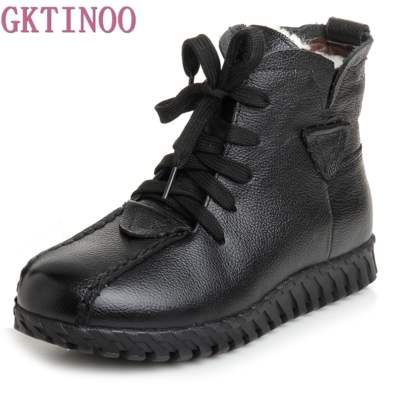 Winter Shoes Women Flats Ankle Boots Woman Fashion Genuine Leather Wedges Boots Mother Casual Non-slip Warm Snow Boots