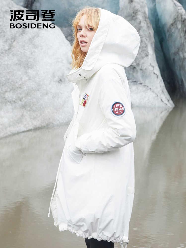 BOSIDENG Новый пуховик женский средней длины со съемной подкладкой зимняя модная ветровка теплая куртка B80132118