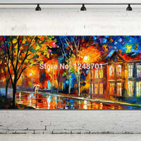 Large Handpainted Lovers Rain Street Landscape Oil Painting On Canvas Wall Art Picture For Home Decoration