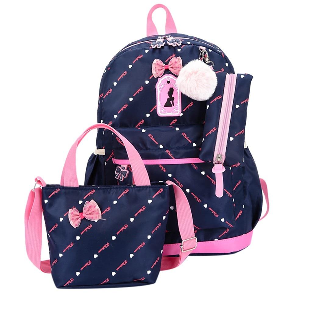 Women Bow Canvas Three-piece School Bag 8