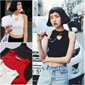 New Arrival Hollow Out Hart Tops Sleeveless Short Crop Top Cotton Women Clothes Summer Style