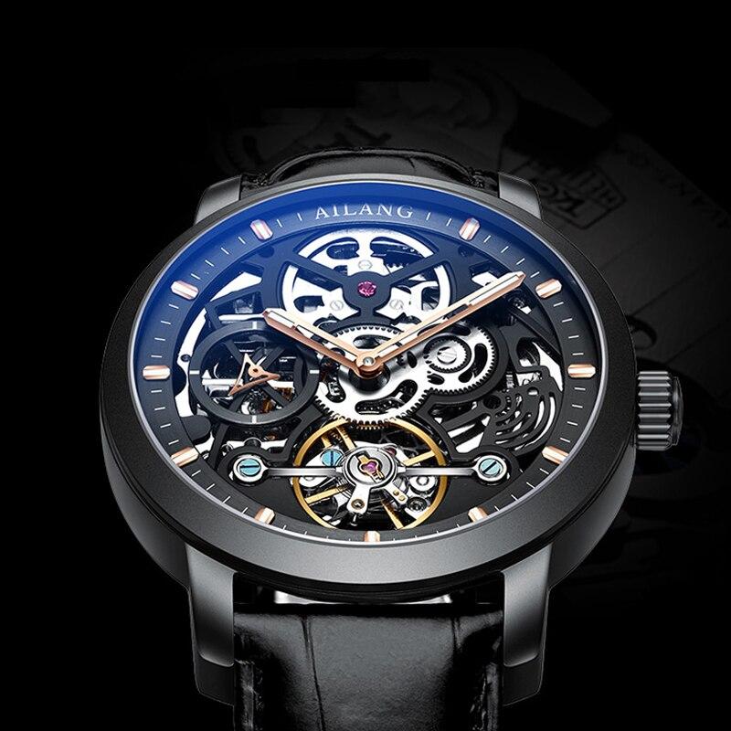 AILANG nouvelle horloge squelette mâle montres mécaniques pour hommes Top marque de luxe noir véritable ceinture en cuir lumineux mains hommes montre