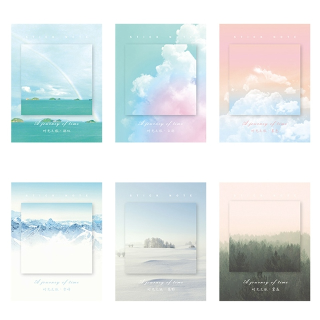 1 Piece Colored Clouds Sticky Note/Memo Pad