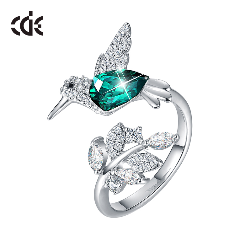 CDE 925 Silver Ring Embellished With Crystals Women Rings Ringen Voor Vrouwen Bird Open Ring Animal Jewelry Gifts