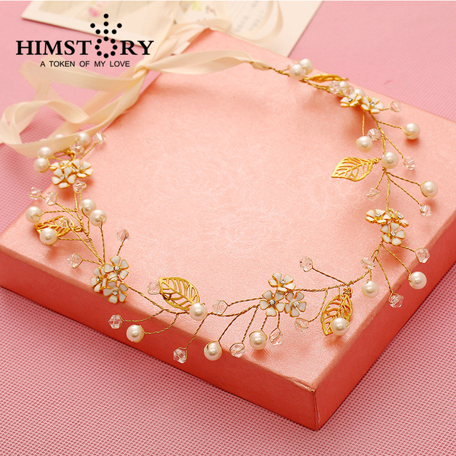 Gold Leaves Flowers Pearl Wedding Hair Jewelry Handmade Bridal Headband Accessories Headpiece