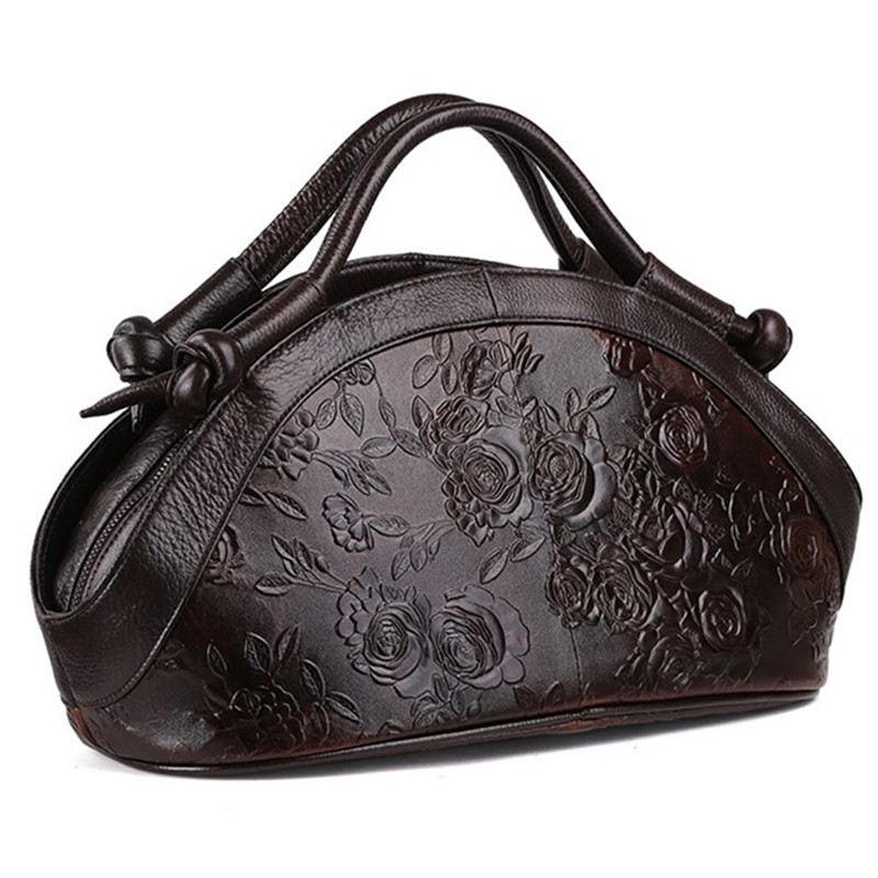 Genuine leather women Leisure large shoulder bag female Retro Printing Messenger bags women Cowhide Flowers travel handbag 100% genuine leather women shoulder bags simple fashion real skin cowhide simple messenger bags leisure female messenger bag