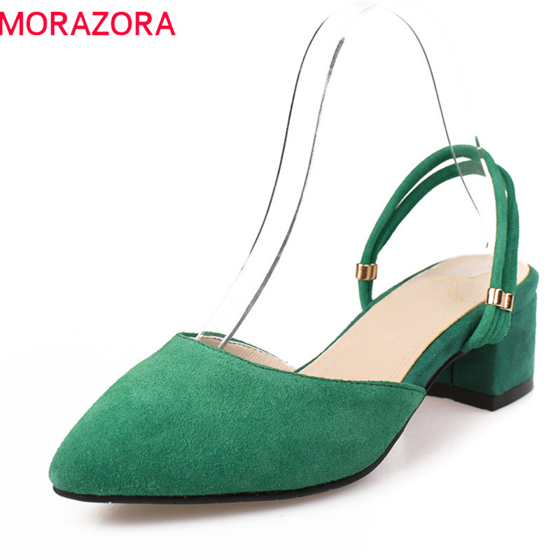 MORAZORA 2019 New Arrive Women Sandals Top Quality Flock Casual Shoes Shallow Pointed Toe Summer Shoes Comfortable Square Heel
