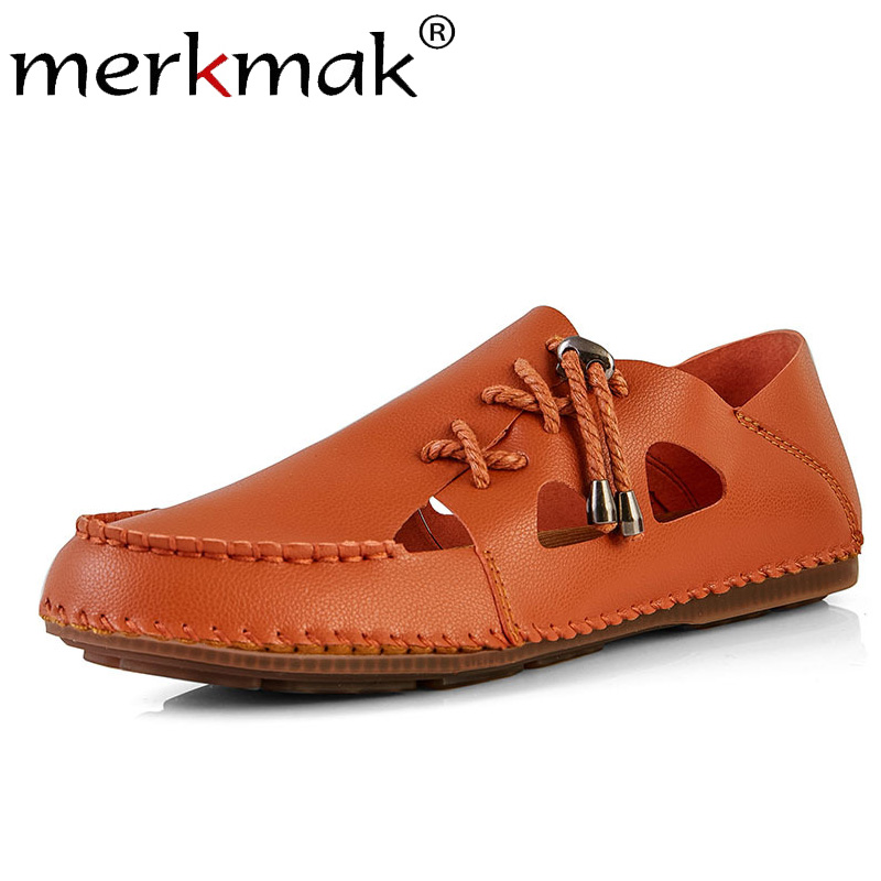 Merkmak Men's Loafers Dress-Shoes Comfortable Flat Casual Summer Solid Soft Lazy Large-Size