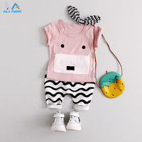 AiLe Rabbit 2Pcs Baby Clothing Sets Boys Summer Cotton Cute Aimals Newborn Toddler Clothes Top Pant