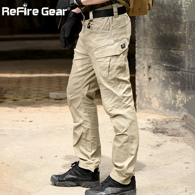 ReFire Gear SWAT Combat Military Tactical Pants Men Large Multi Pocket Army Cargo Pants Casual Cotton Security Bodyguard Trouser
