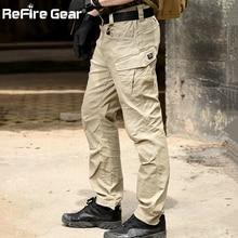 ReFire Gear SWAT 전투 군사 전술 바지 남성 대형 멀티 포켓 육군화물 바지 캐주얼 코튼 보안 보디 가드 바지