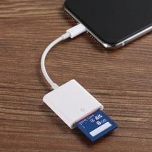 Leitor de cartões otg para lightning a sd, adaptador para leitores de cartões de câmera inteligente para iphone ipod apple cartões de memória sem uso necessidade de aplicativo