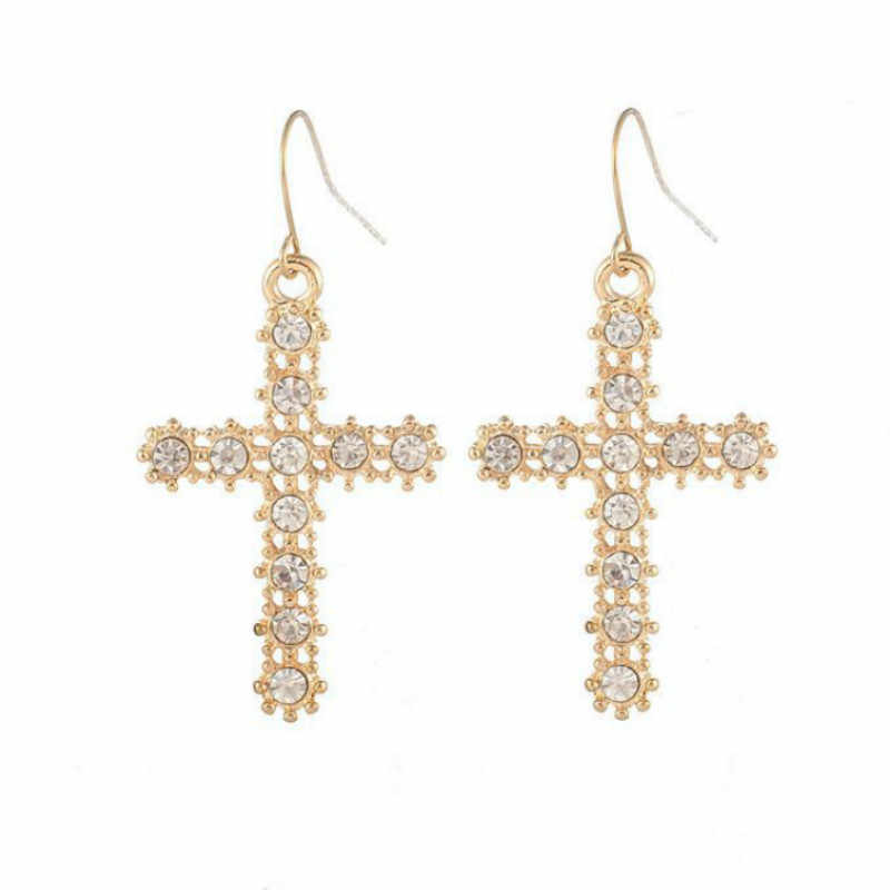New Fashion Rhinestone Cross Dangle Earrings Women Simple Gold Color Imitation Pearls Cross Earrings Wedding Engagement Jewelry