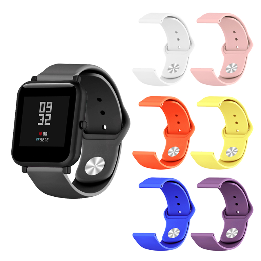 Silicone Soft Strap for Xiaomi Huami Amazfit Bip BIT Lite Youth Smart Watch Wrist Bracelet for Amazfit Bip Watchband 20mm Strap-in Smart Accessories from Consumer Electronics