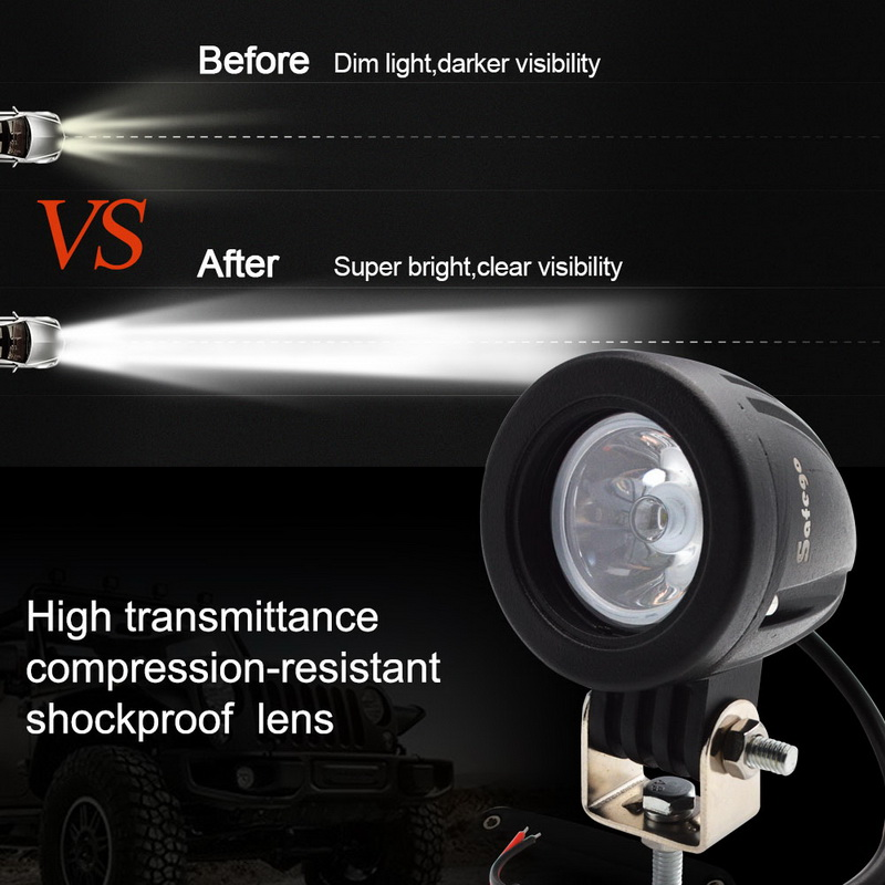 Image 3 - Safego 10W LED WORK LIGHT 12V led tractor work lights offroad driving 4X4 ATV car motorcycle led Lights for truck round-in Light Bar/Work Light from Automobiles & Motorcycles