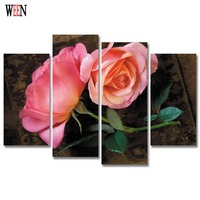 HD Print 4PC Rose Flower Framed Canvas Art Wall Pictures For Living Room Large Modern Cuadros