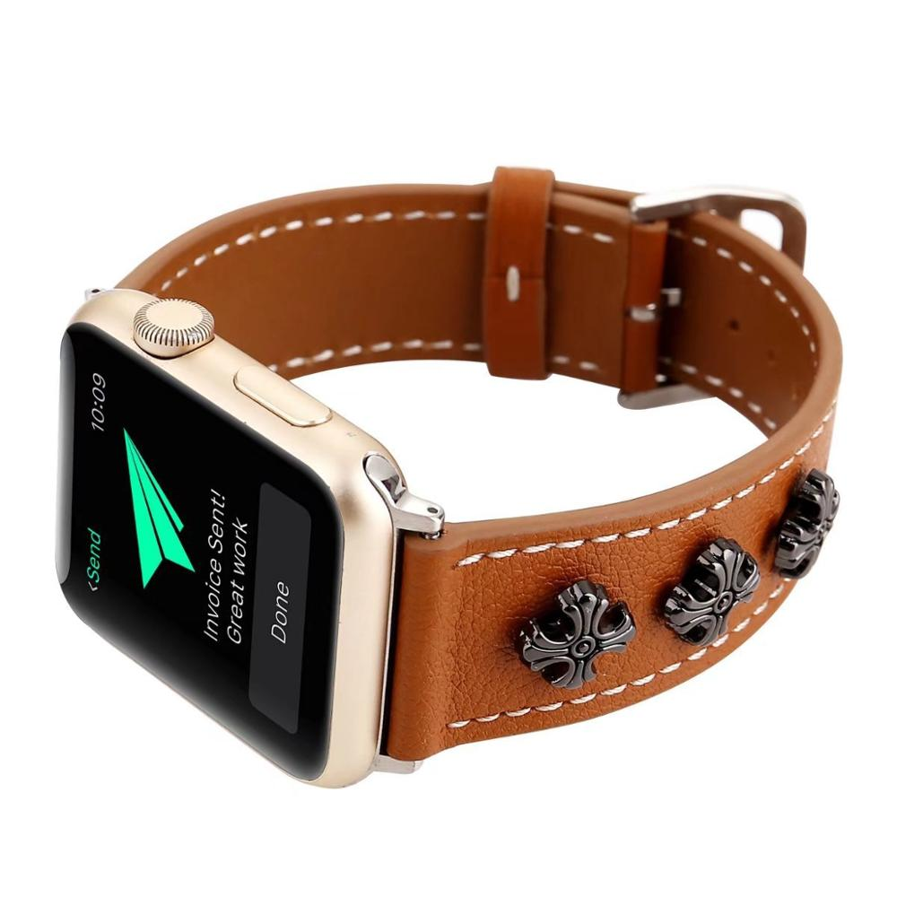 3 Color unique Chrome Leather Watchband for Apple Watch Band Series 3/2/1 Sport Bracelet 42 mm 38 Strap For iwatch 4