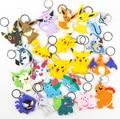 Asoman Figuras PVC de Dos caras de dibujos animados Llaveros Anime Pikachu Snorlax Bulbasaur Gastly Chansey Squirtle Lindo Colgantes de Juguetes